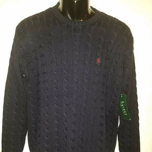 Men's Polo Ralph Lauren CABLE KNIT Navy Sweater LG